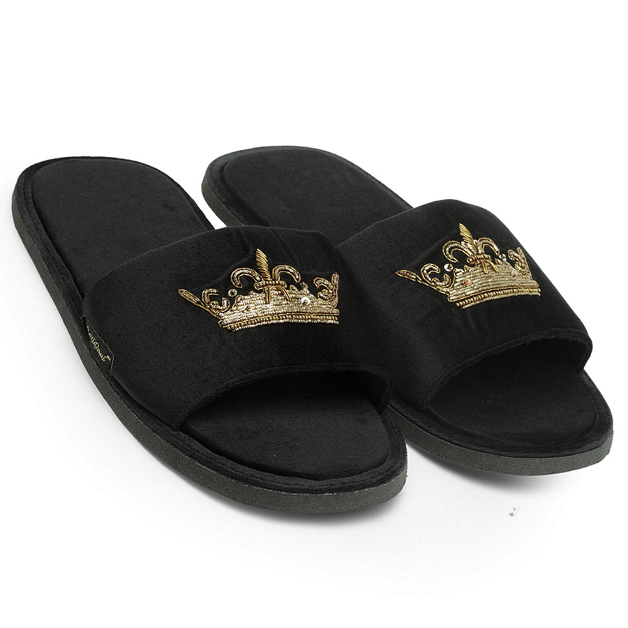 Roman Crown Domani Slippers© (Black)