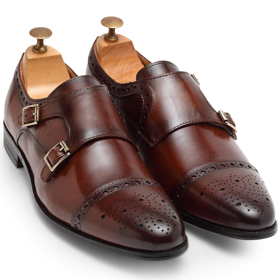 Italia Leather Double Monk Brogues (Cherry Brown)