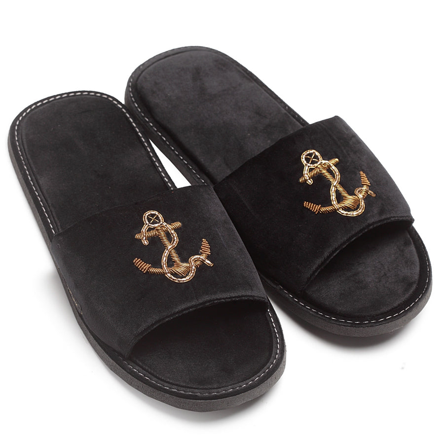 Anchor Slippers (Black)