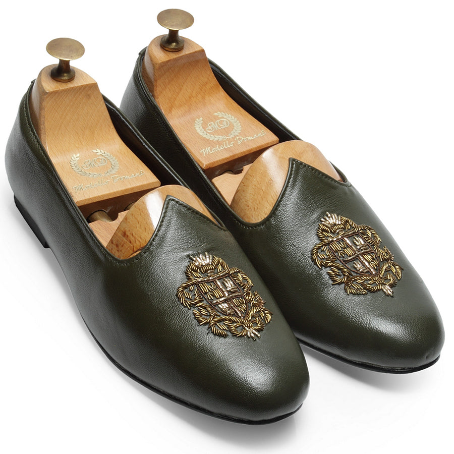 Royal Crest© Leather Juttis (Bottle Green)