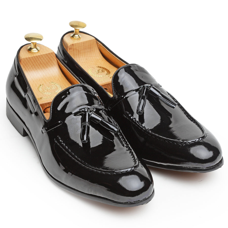 Tassel Leather Slipons (Patent Black)