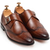Italia Leather Single Monk Brogues (Tan)