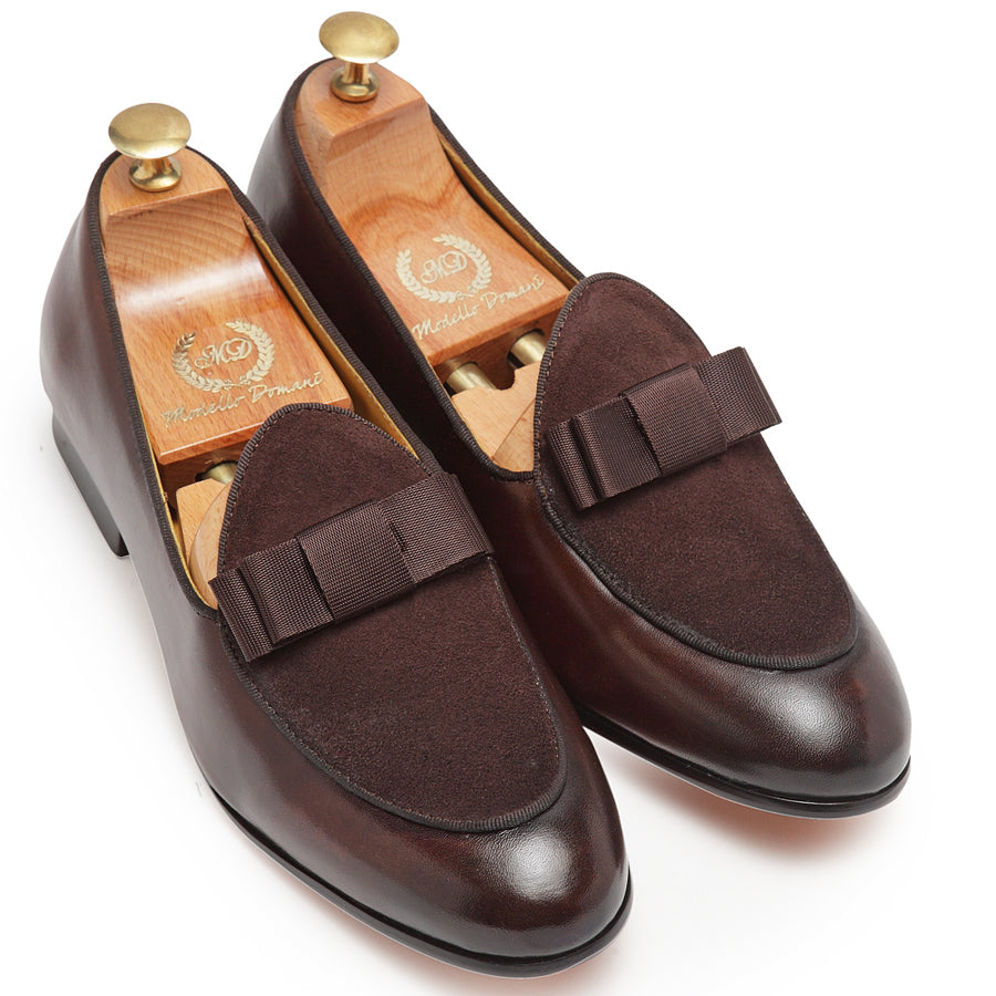 Bowtie Leather-Suede Slipons (Brown)