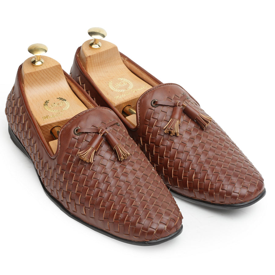 Woven Moccasins With Tassels (Chocolate)