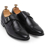 Italia Leather Single Monk Brogues (Black)