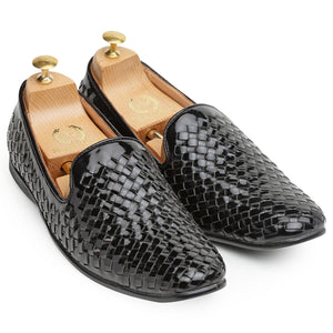 Woven Moccasins (Patent Black)