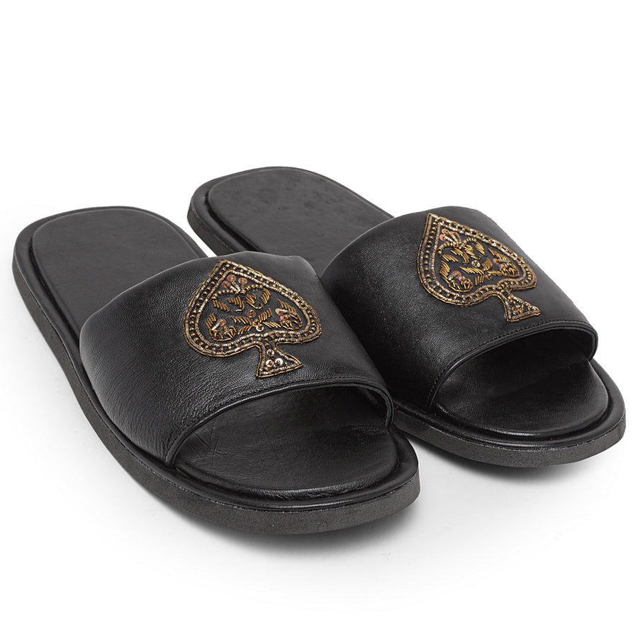 Leather ACE Slippers (Black)