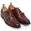 Italia Leather Stingray Texture Monxfords (Burgundy)