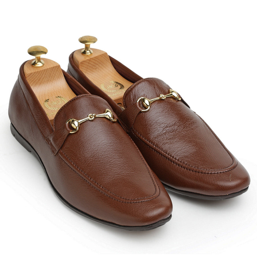 Leather Horsebit Slipons (Brown)