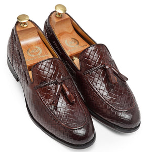 Textured Leather Tassel Slipons (Brown)