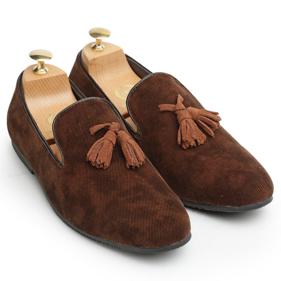 Suede Tassels Slipons (Chocolate)