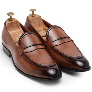 Italian Cut Penny Slipons (Tan)