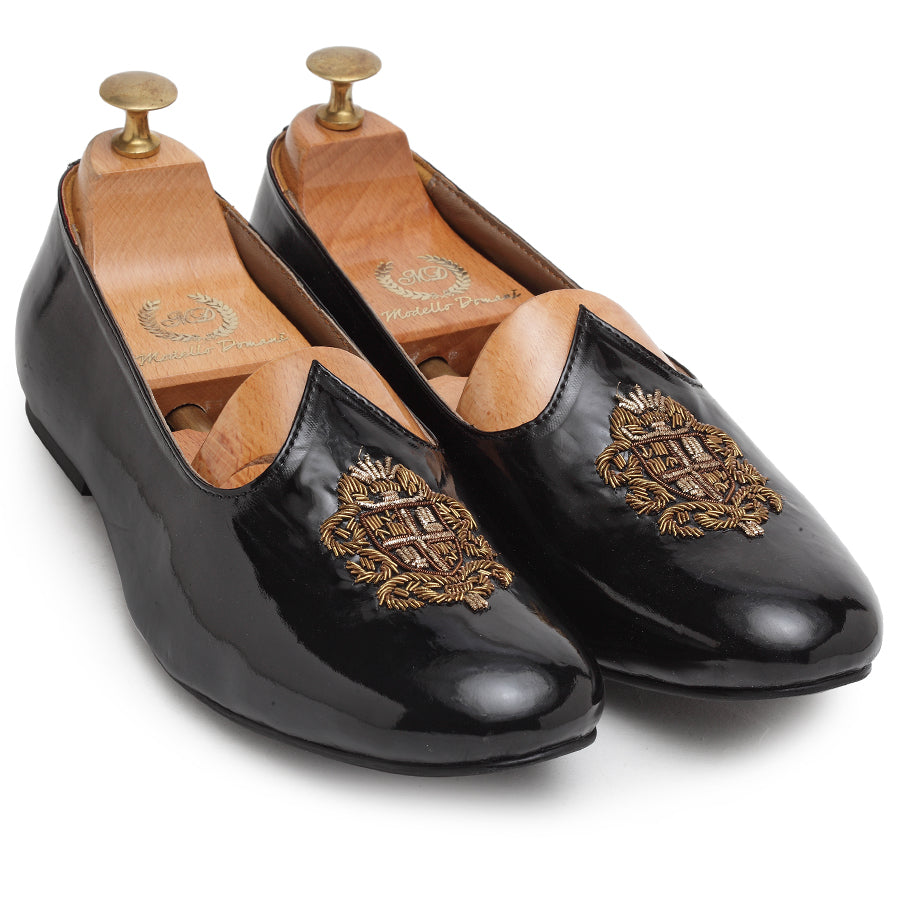 Royal Crest© Leather Juttis (Patent Black)