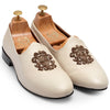 MADE TO ORDER Royal Crest© Leather Fusion Juttis (White)
