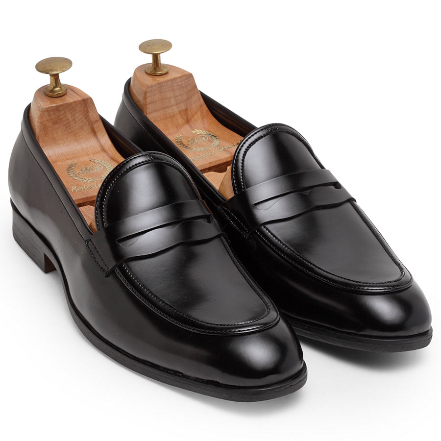Italian Cut Penny Slipons (Black)