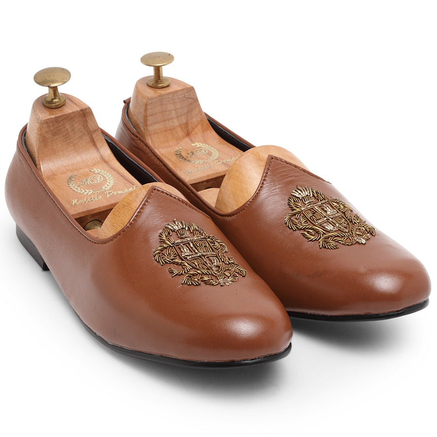 Royal Crest© Leather Juttis (Tan)
