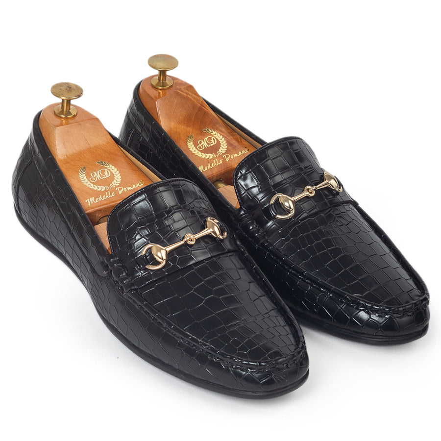 Croco Horsebit Buckle Slipons (Black)