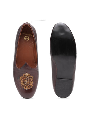 Royal Crest© Leather Juttis (Brown)
