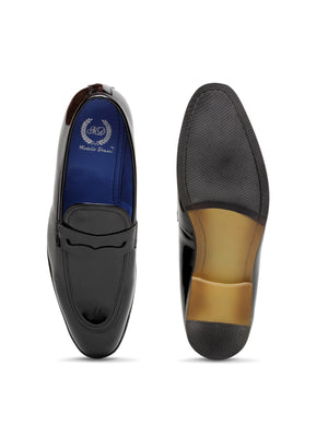 Italian Cut Penny Slipons (Patent Black)