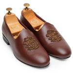 MADE TO ORDER PATINA Royal Crest© Leather Fusion Juttis (Chocolate)