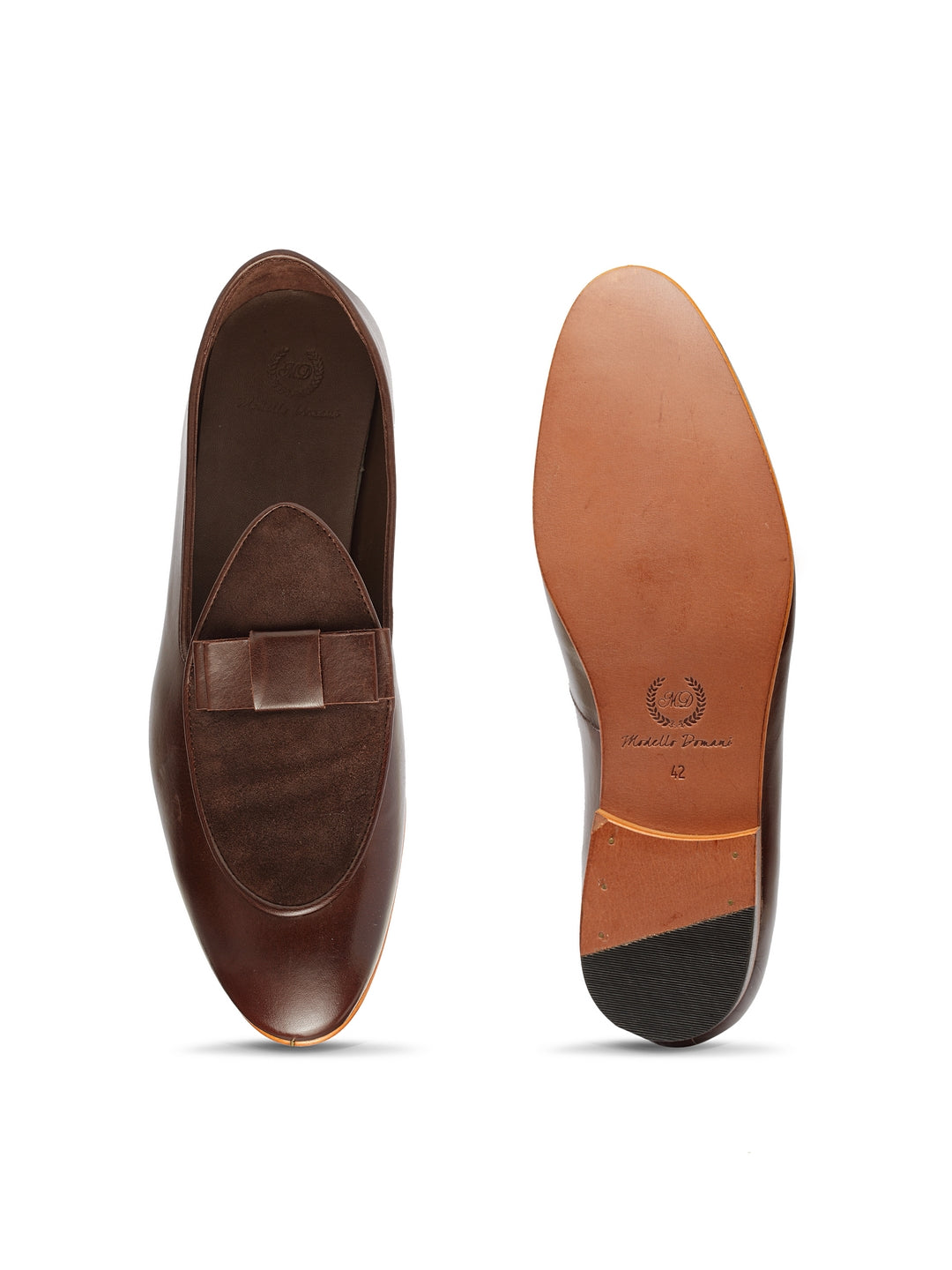 Spanish Cut Leather-Suede Bowtie Slipons
