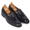 Italian Cut Tassel Penny Slipons (Black)