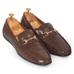 Croco Horsebit Buckle Slipons (Brown)