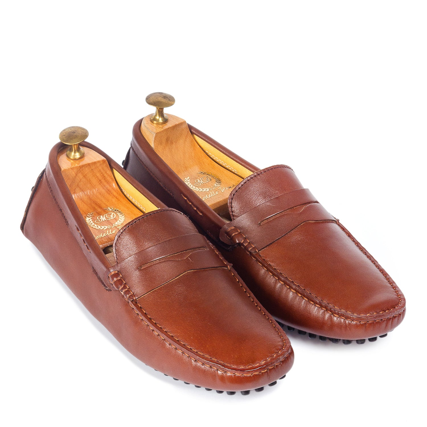 Gommino Leather Penny Loafers (Brown)