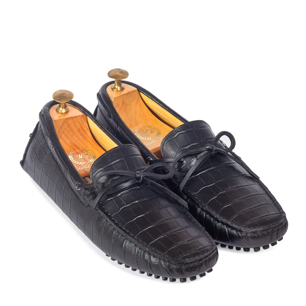 Gommino Croco Texture Leather Bow Loafers (Black)