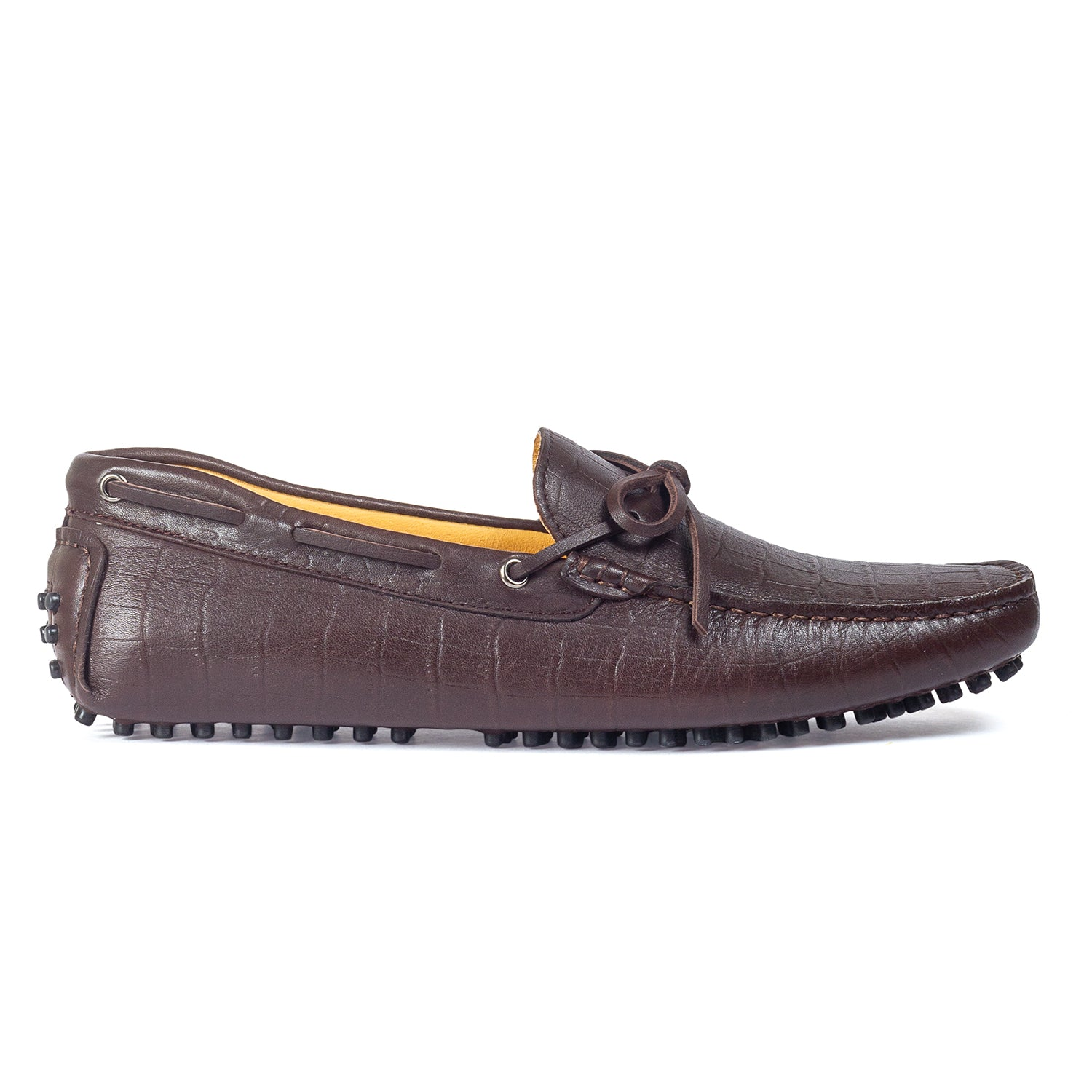 Gommino Croco Texture Leather Bow Loafers (Coffee)