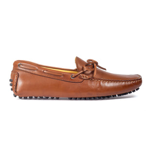 Gommino Leather Bow Loafers (Chocolate Brown)