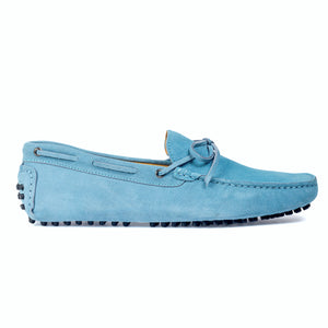 Gommino Suede Bow Loafers (Sky Blue)