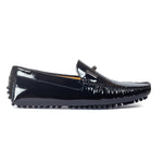 Gommino Patent Leather Buckle Loafers (Patent Black)