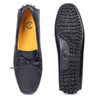 Gommino Leather Bow Loafers (Black)
