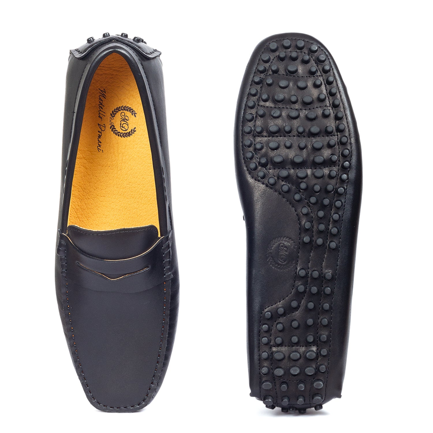 Gommino Leather Penny Loafers (Black)