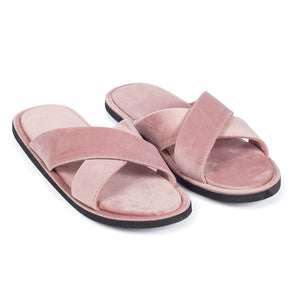 Kids New Roman Velvet Slippers (Baby Pink)
