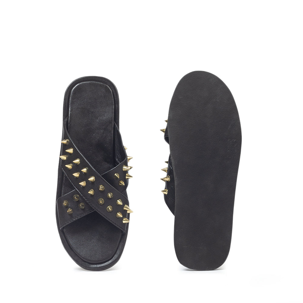 New Roman Leather Golden Spike'd Domani Slippers© (Limited Edition)