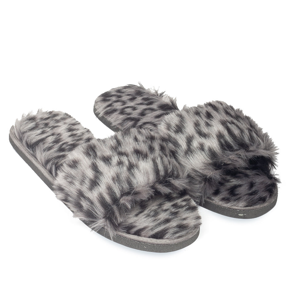 Ash Leopard Fur Domani Slippers© (Limited Edition)