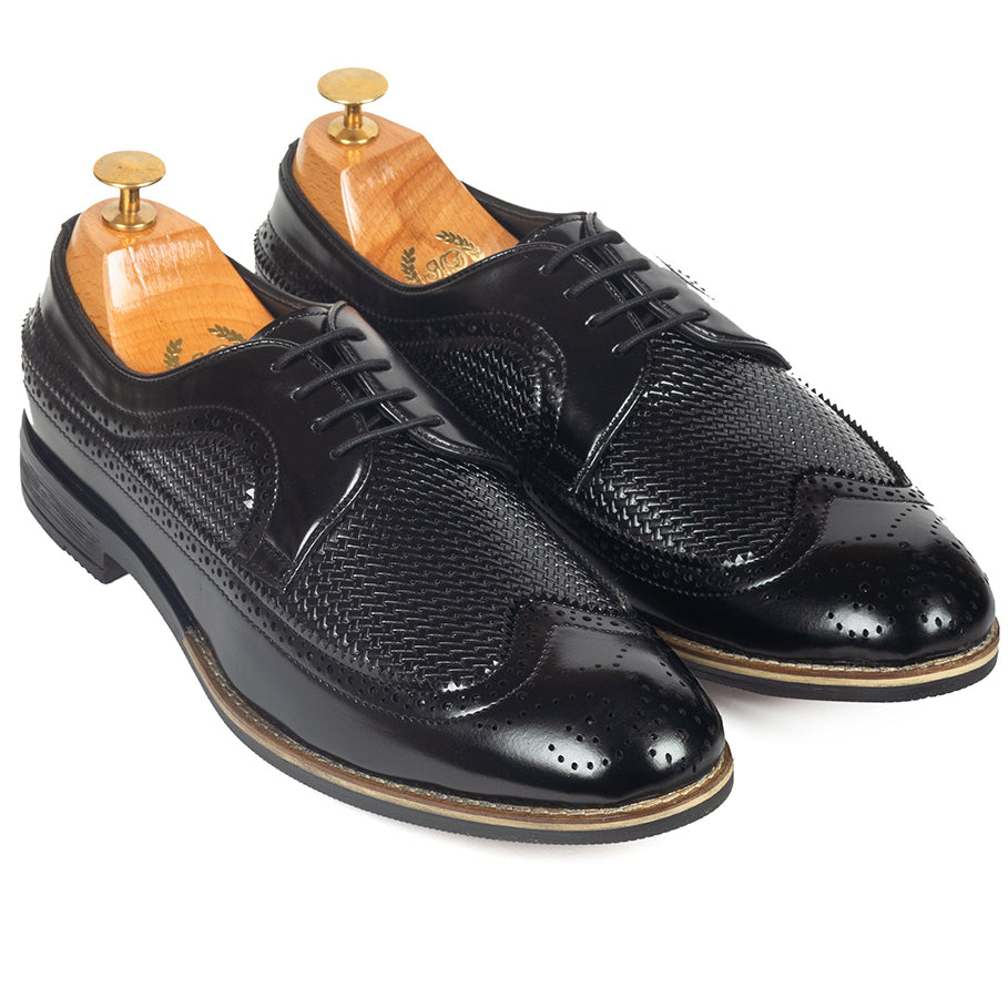 Mesh Lace Up Brogues (Black)