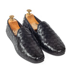 Soft Nappa Leather Woven Slipons (Black)