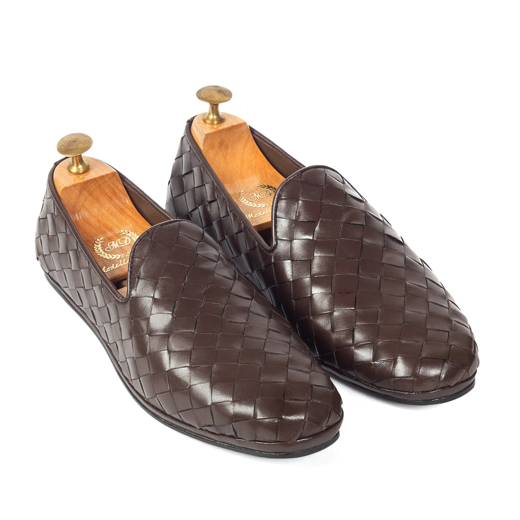Soft Nappa Leather Woven Slipons (Brown)
