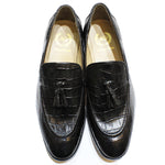 Croco Tassel Leather Slipons (Black)