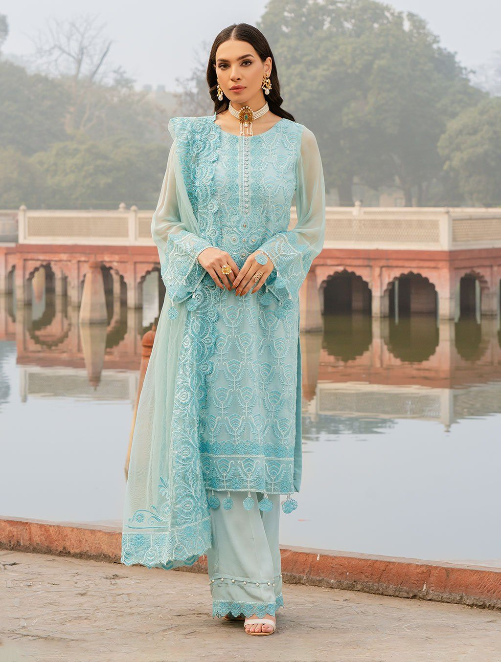 3 Piece Stitched Embroidered Chiffon Suit KNAC-1115 Chiffon Collection 2021-Volume 1 FASUNSLAD