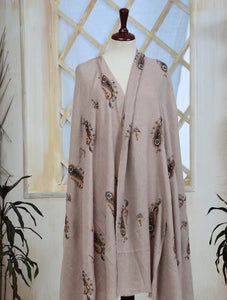 Embroidered¬Paisley Cashmere Shawl IHC-R-01-12 L.BROWN Wraps FASUNSLAD