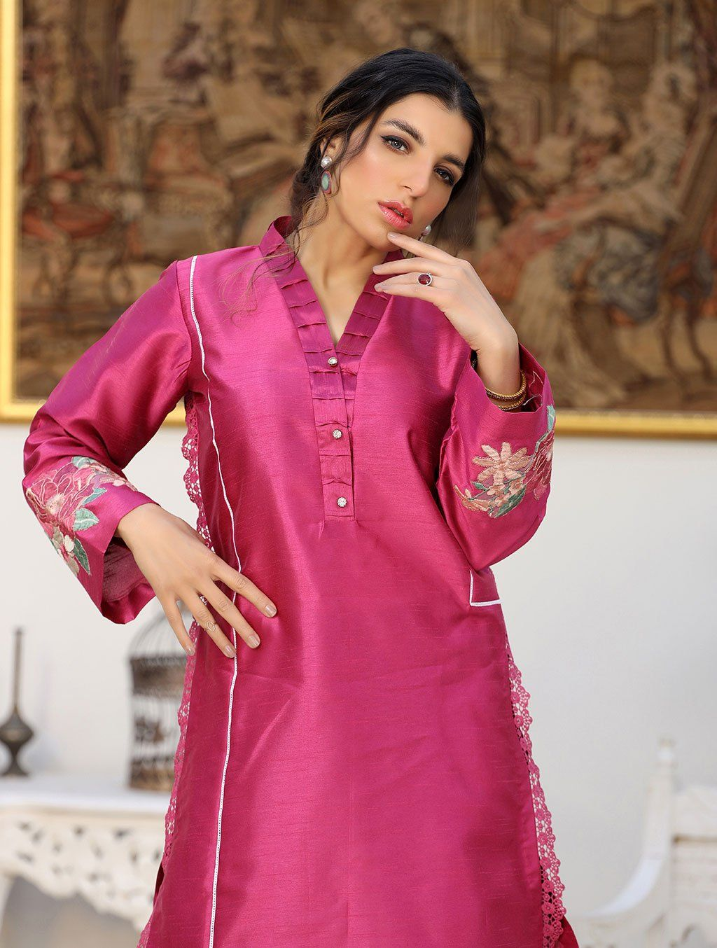 Luxury Embroidered Tefta Pret Kurti KLS-58 Luxury Pret FASSTILAD L