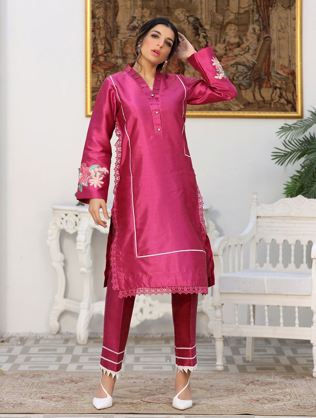 Luxury Embroidered Tefta Pret Kurti KLS-58 Luxury Pret FASSTILAD M