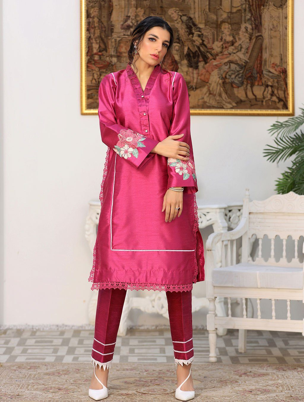 Luxury Embroidered Tefta Pret Kurti KLS-58 Luxury Pret FASSTILAD S