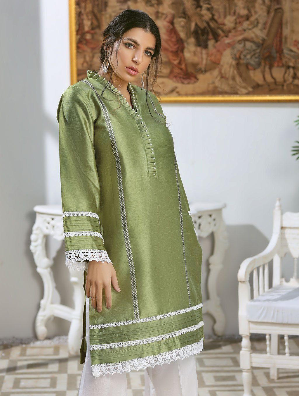 Luxury Embroidered Tefta Pret Kurti KLS-64 Luxury Pret FASSTILAD M