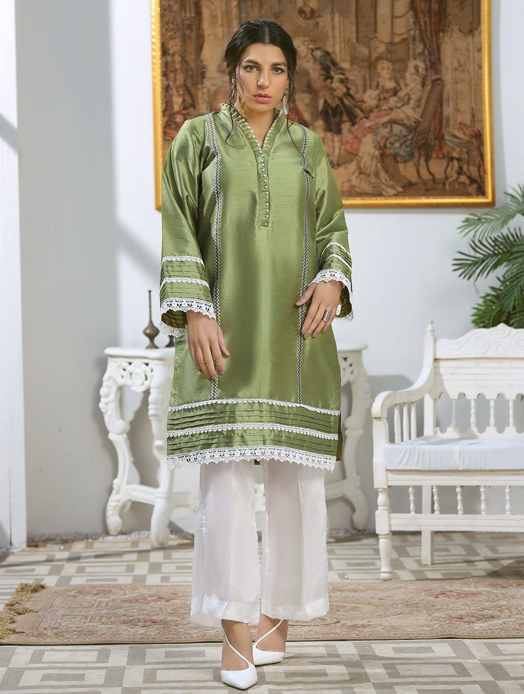 Luxury Embroidered Tefta Pret Kurti KLS-64 Luxury Pret FASSTILAD S