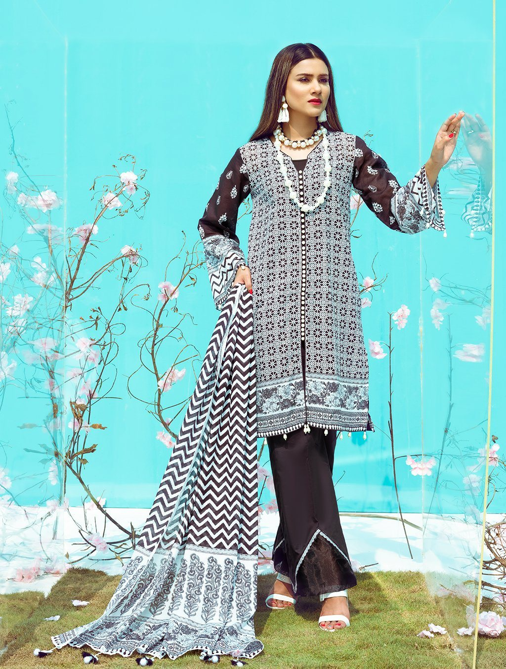 Printed Lawn Evening Eve 3 - Piece Stitched Suit KLA-9093 KHAS STORES US